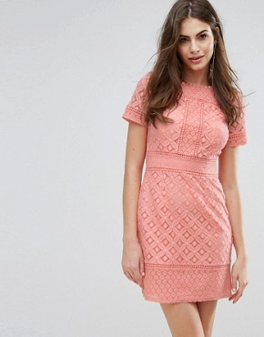 photo Lace Shift Dress by Oasis, color Coral - Image 1