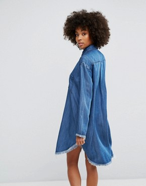 photo Denim Shirt Dress with Frayed Hem Detail by Weekday, color Dark Blue Denim - Image 2