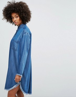 photo Denim Shirt Dress with Frayed Hem Detail by Weekday, color Dark Blue Denim - Image 1
