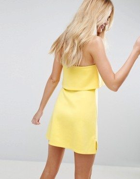 photo Scuba Bandeau Crop Top Mini Dress by ASOS, color Bright Yellow - Image 2