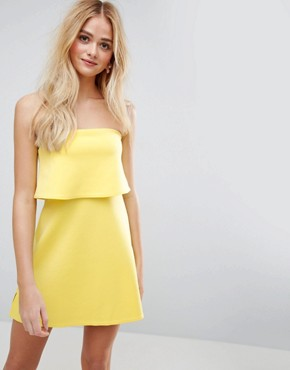 photo Scuba Bandeau Crop Top Mini Dress by ASOS, color Bright Yellow - Image 1