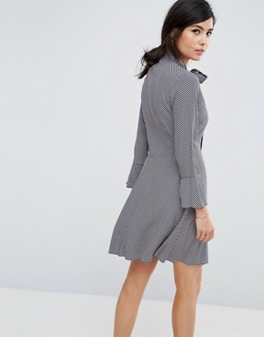 photo Shirt Dress with Tie Neck Detail by Closet London, color Multi - Image 2