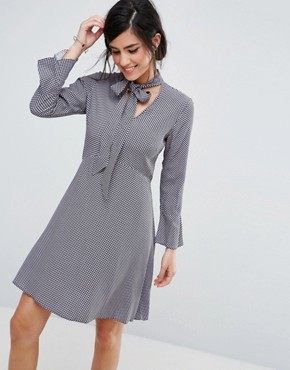 photo Shirt Dress with Tie Neck Detail by Closet London, color Multi - Image 1