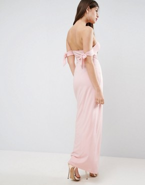 photo Bow Off The Shoulder Maxi Dress with Wrap Front by ASOS, color Nude - Image 2