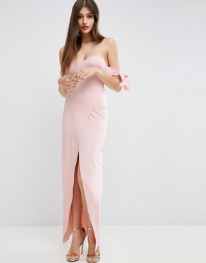 photo Bow Off The Shoulder Maxi Dress with Wrap Front by ASOS, color Nude - Image 1