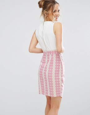 photo Striped Dress with Asymmetric Skirt by Closet London, color Pink - Image 2