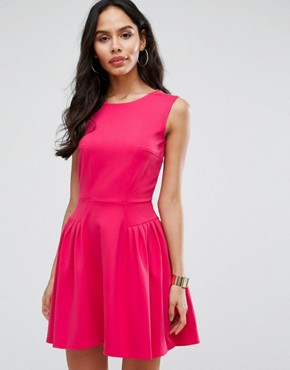 photo Skater Dress with Pintucks by Closet London, color Pink - Image 1