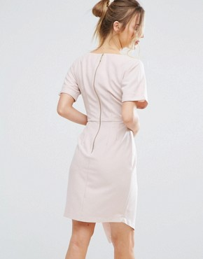 photo V-Front Wrap Dress by Closet London, color Nude - Image 2