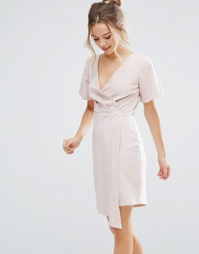 photo V-Front Wrap Dress by Closet London, color Nude - Image 1