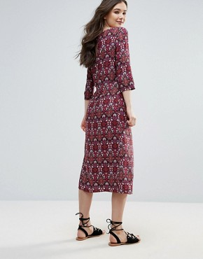 photo Printed Midi Dress with Split by Vero Moda, color Red - Image 2