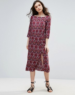 photo Printed Midi Dress with Split by Vero Moda, color Red - Image 1