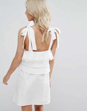 photo Frill Dress with Tie Cami Straps by Fashion Union Petite, color White - Image 2
