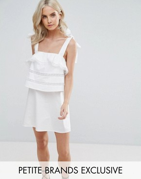 photo Frill Dress with Tie Cami Straps by Fashion Union Petite, color White - Image 1