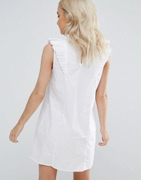 photo Ruffle Detail Dress with Embroidery by Fashion Union Petite, color White - Image 2