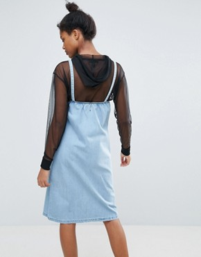 photo Eyelet Straps Denim Pinafore Dress by Chorus, color Blue Indigo - Image 2