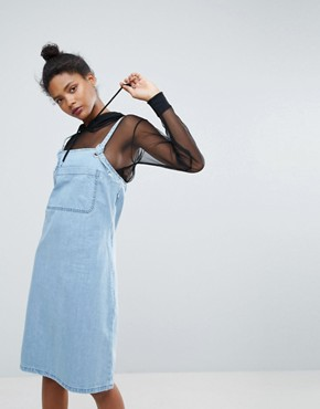 photo Eyelet Straps Denim Pinafore Dress by Chorus, color Blue Indigo - Image 1