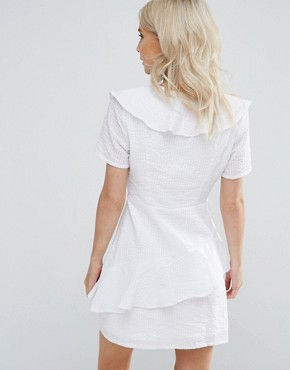 photo Ruffle Detail Dress by Fashion Union Petite, color White - Image 2