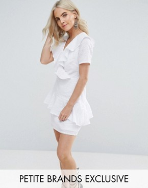 photo Ruffle Detail Dress by Fashion Union Petite, color White - Image 1