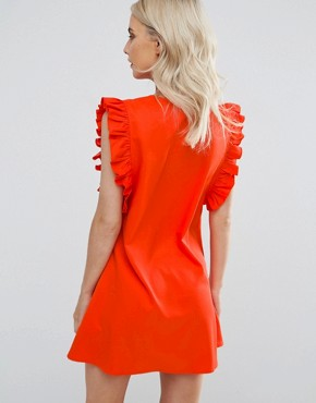 photo Ruffle Detail Tie Front Shift Dress by Fashion Union Petite, color Red - Image 2