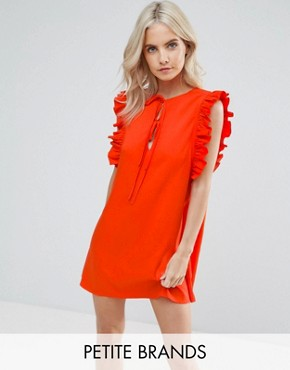 photo Ruffle Detail Tie Front Shift Dress by Fashion Union Petite, color Red - Image 1