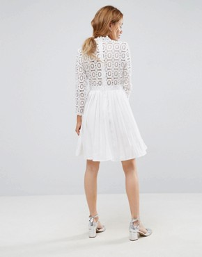photo 3/4 Sleeve Lace Top Pleated Mini Dress by Little Mistress Petite, color White - Image 2