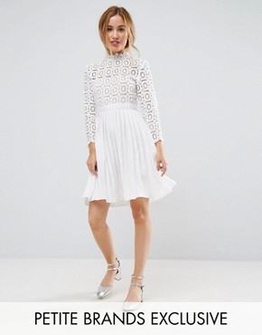 photo 3/4 Sleeve Lace Top Pleated Mini Dress by Little Mistress Petite, color White - Image 1