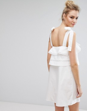 photo Frill Dress with Tie Cami Straps by Fashion Union Tall, color White - Image 2