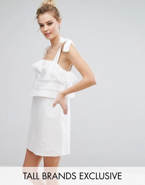 photo Frill Dress with Tie Cami Straps by Fashion Union Tall, color White - Image 1