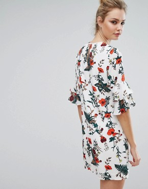 photo Floral Printed Fluted Sleeve Dress by Fashion Union Tall, color Multi - Image 2