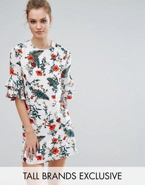 photo Floral Printed Fluted Sleeve Dress by Fashion Union Tall, color Multi - Image 1