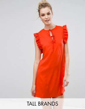 photo Ruffle Detail Tie Front Shift Dress by Fashion Union Tall, color Red - Image 1