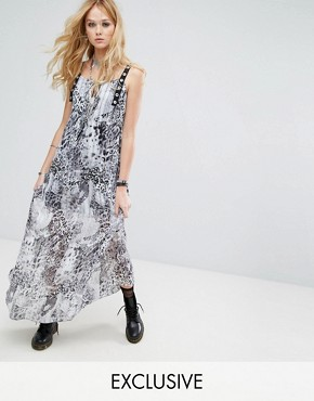 photo Sheer Maxi Dress in Leopard with Eyelet Trim by Reclaimed Vintage Inspired, color Brown - Image 1