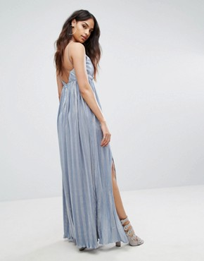 photo Strappy Maxi Dress with Double Split by Rare London, color Blue - Image 2