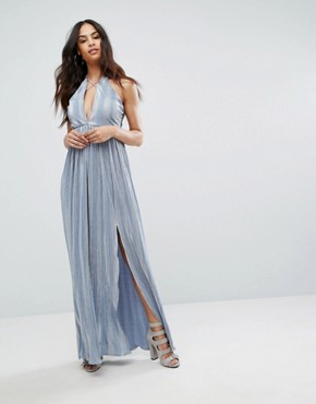 photo Strappy Maxi Dress with Double Split by Rare London, color Blue - Image 1