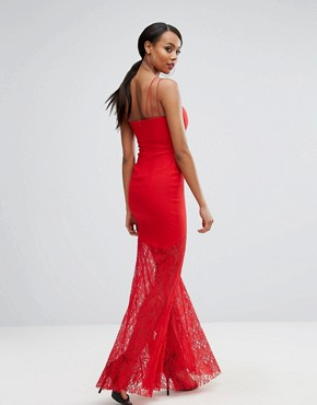 photo Sweetheart Plunge Maxi Dress with Lace Skirt by Rare London, color Red - Image 2
