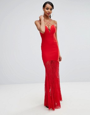 photo Sweetheart Plunge Maxi Dress with Lace Skirt by Rare London, color Red - Image 1