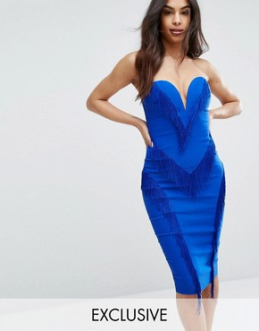 photo Sweetheart Pencil Dress with Fringing by Rare London, color Cobalt - Image 1