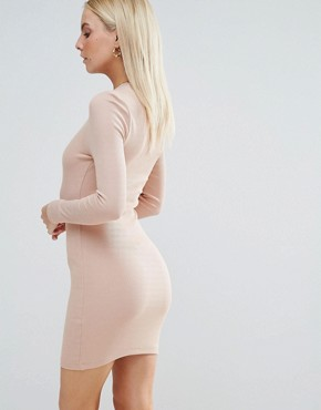 photo Mini Bodycon Dress in Rib with Long Sleeves by ASOS PETITE, color Nude - Image 2