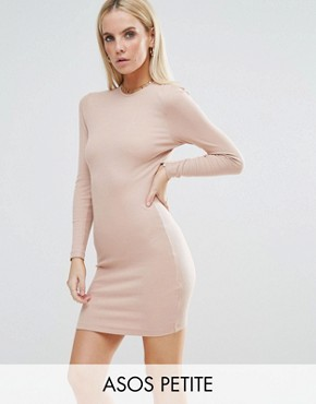 photo Mini Bodycon Dress in Rib with Long Sleeves by ASOS PETITE, color Nude - Image 1