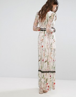 photo Premium Embroidered Lace Detail Maxi Dress by Miss Selfridge, color Multi - Image 2