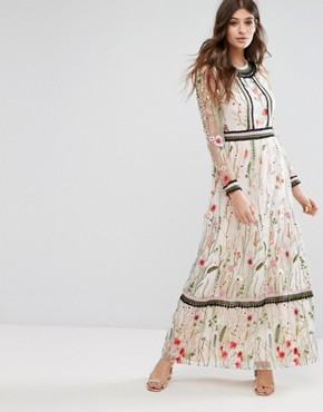 photo Premium Embroidered Lace Detail Maxi Dress by Miss Selfridge, color Multi - Image 1