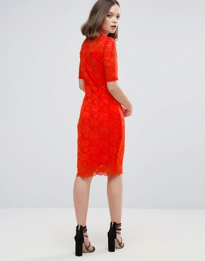 photo 3/4 Sleeve Lace Midi Dress by Ichi, color Grenadine - Image 2