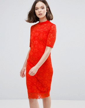 photo 3/4 Sleeve Lace Midi Dress by Ichi, color Grenadine - Image 1