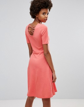 photo Short Sleeve Fit & Flare Dress by Ichi, color Rose Of Sharon - Image 2