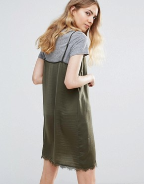 photo Lace Insert Dress by Ichi, color Dark Olive - Image 2