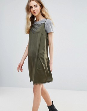 photo Lace Insert Dress by Ichi, color Dark Olive - Image 1