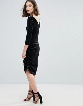 photo Velvet Asymmetric Dress by Ichi, color Black - Image 2