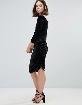 photo Velvet Asymmetric Dress by Ichi, color Black - Image 4