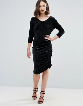 photo Velvet Asymmetric Dress by Ichi, color Black - Image 1