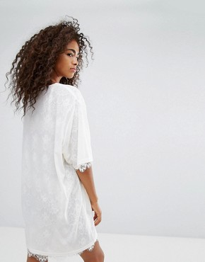 photo Mesh T-Shirt Dress with Lace Trim Slip Underlay by Ellesse, color Marshmallow - Image 2